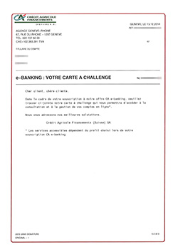 Courrier carte à challenge