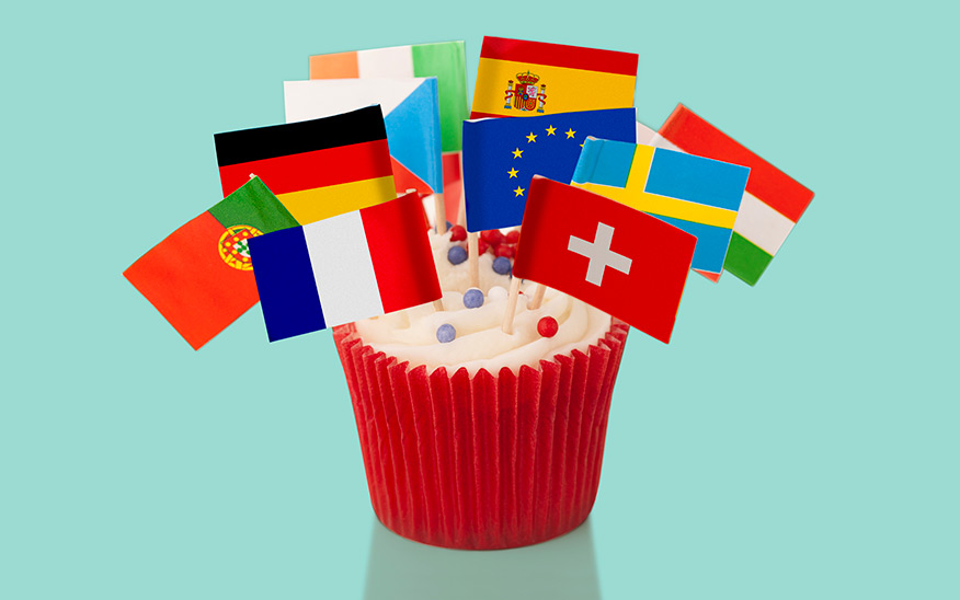 Cupcake with European flags